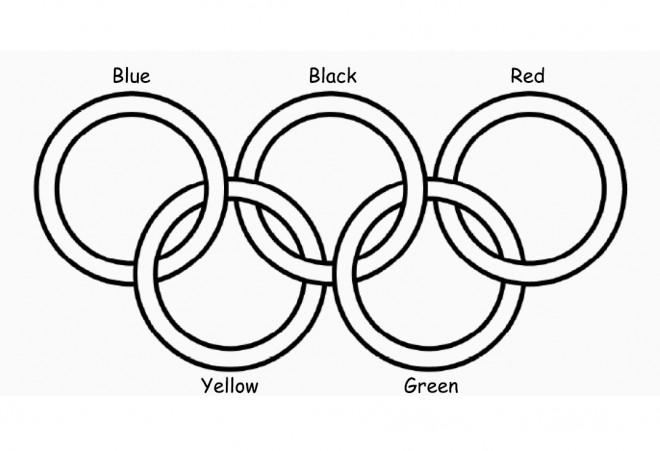 Coloriage et dessins gratuits Jeux Olympiques en cinq couleur à imprimer