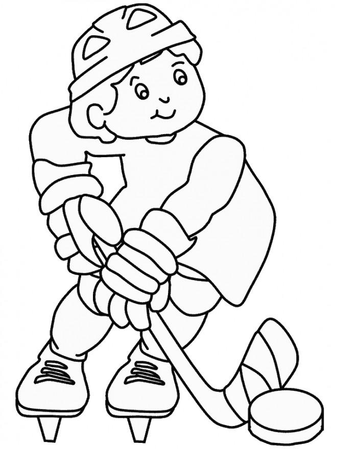 Coloriage et dessins gratuits Joueur de Hockey patine à imprimer