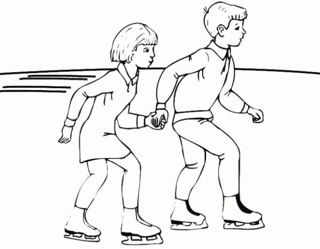 Coloriage et dessins gratuits Les enfant s'amusent sur glace à imprimer