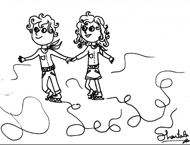 Coloriage et dessins gratuits Les Enfants font du Patin à imprimer