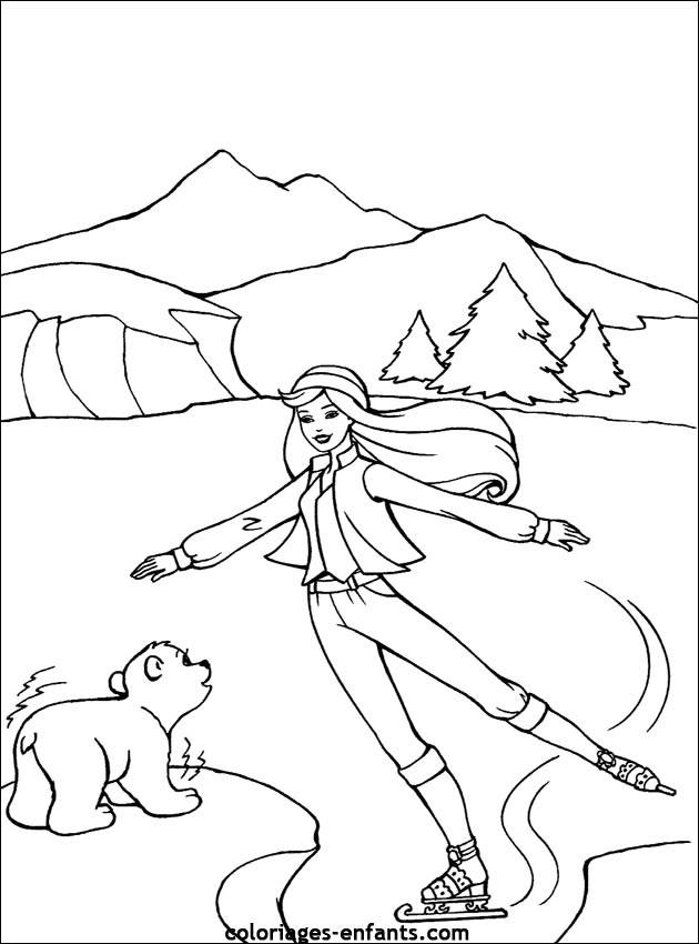 Coloriage et dessins gratuits Patinage en plein air à imprimer