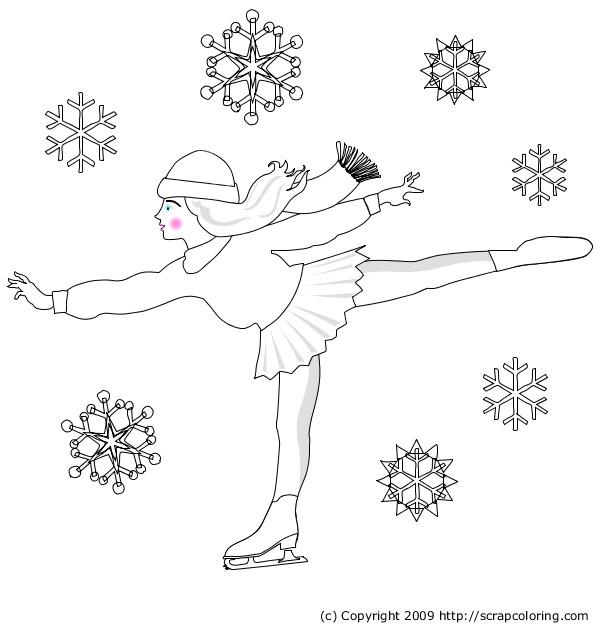 Coloriage et dessins gratuits Patinage sous la neige à imprimer