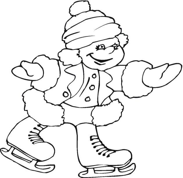 Coloriage et dessins gratuits Petite Fille amusé sur Glace à imprimer