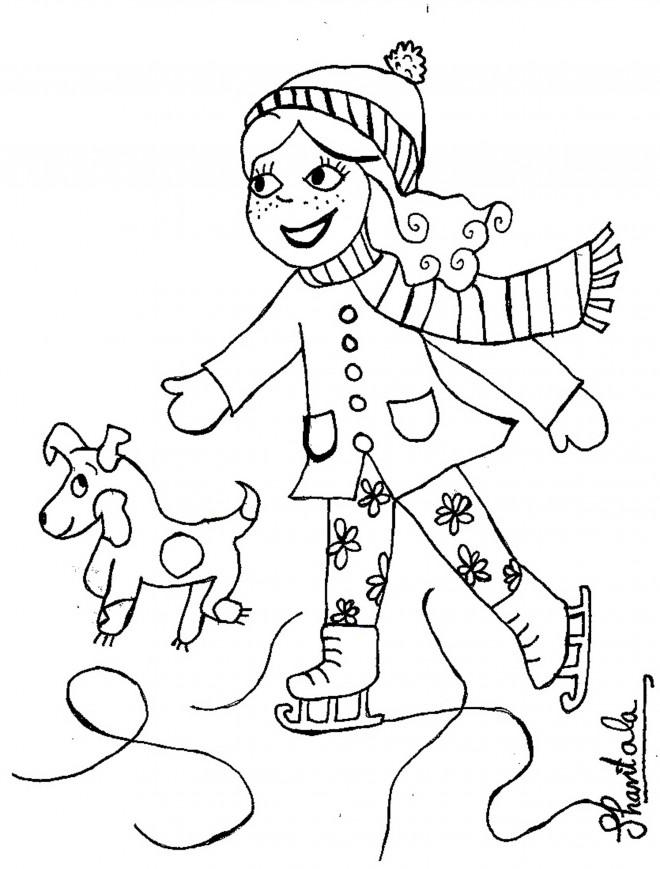 Coloriage et dessins gratuits Petite fille et son chien patinent à imprimer