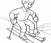 Coloriage et dessins gratuit Enfant et Ski à imprimer