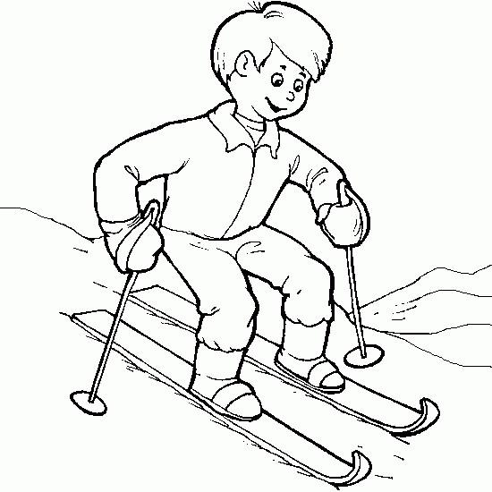 Coloriage et dessins gratuits Enfant et Ski à imprimer