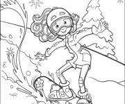 Coloriage et dessins gratuit Fille fait du Ski à imprimer
