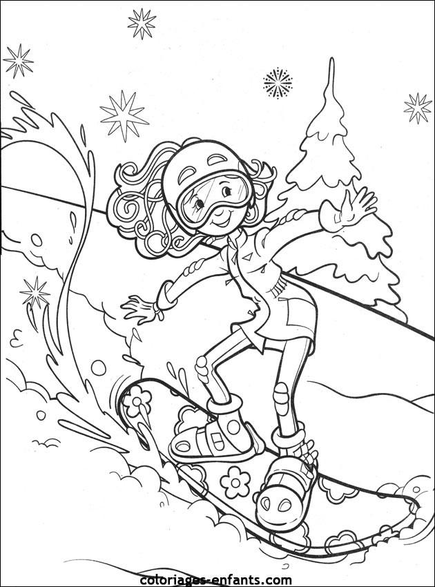 Coloriage et dessins gratuits Fille fait du Ski à imprimer