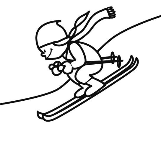 Coloriage et dessins gratuits Fille Skieuse en train de s'amuser à imprimer