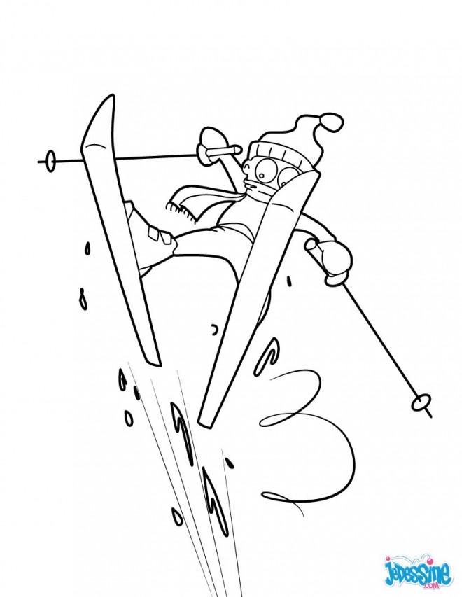 Coloriage et dessins gratuits Humour de Ski à imprimer
