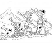 Coloriage et dessins gratuit La famille Ski à imprimer