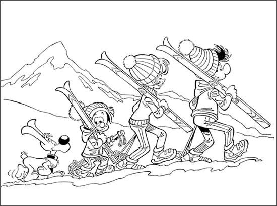 Coloriage et dessins gratuits La famille Ski à imprimer
