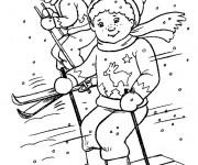 Coloriage et dessins gratuit Les enfants font du Ski à imprimer