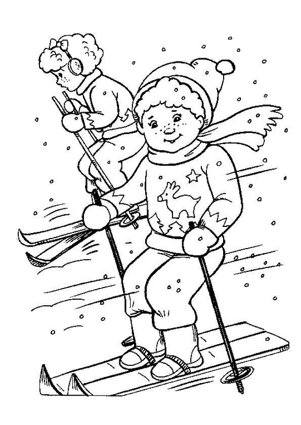 Coloriage et dessins gratuits Les enfants font du Ski à imprimer