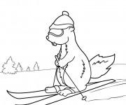 Coloriage et dessins gratuit Marmotte fait du Ski à imprimer