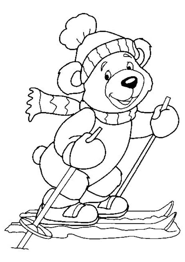 Coloriage et dessins gratuits Ours Skieur à imprimer