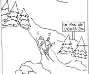 Coloriage et dessins gratuit Paysage de Ski à imprimer