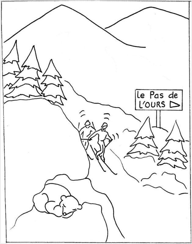 Coloriage et dessins gratuits Paysage de Ski à imprimer