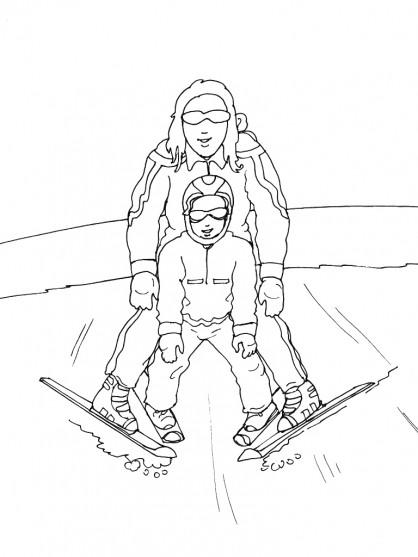 Coloriage et dessins gratuits Père et Fils Skieurs à imprimer