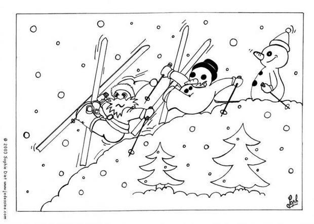 Coloriage et dessins gratuits Père Noel Skieur à imprimer