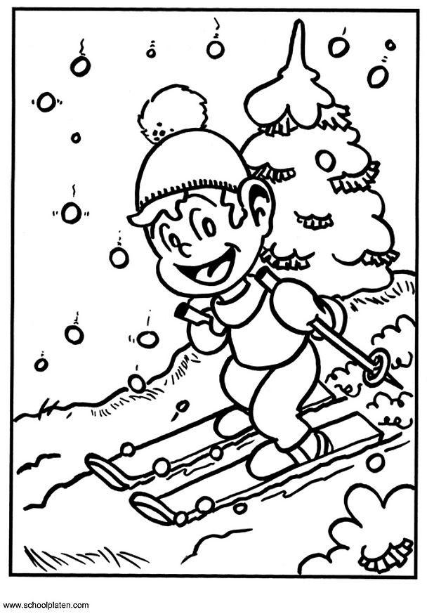 Coloriage et dessins gratuits Petit Skieur amusé à imprimer