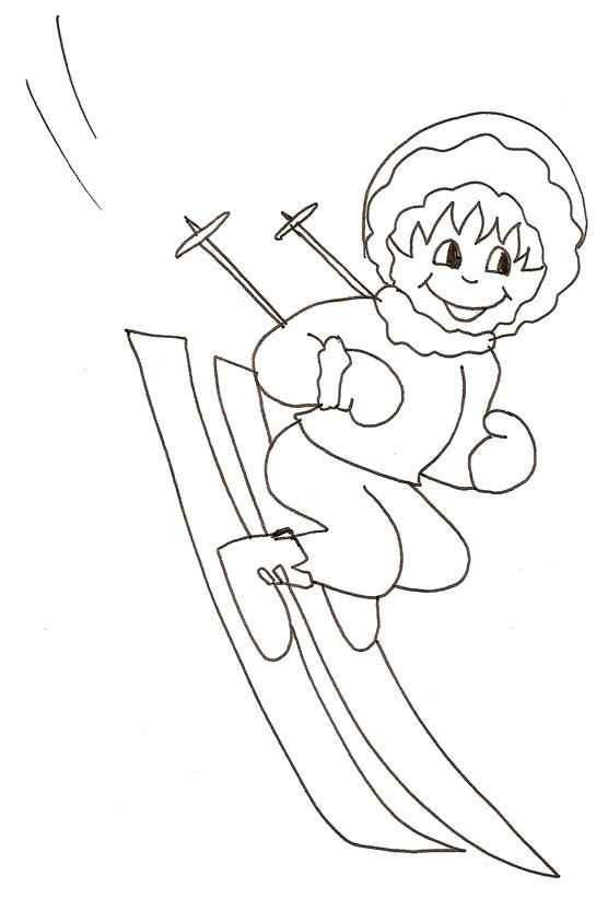 Coloriage et dessins gratuits Petit Skieur content à imprimer