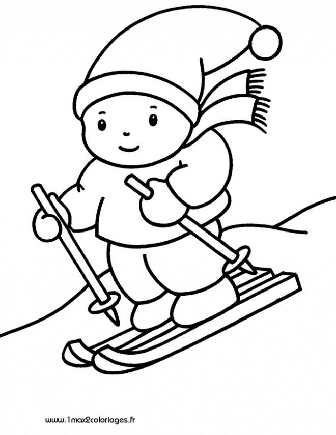 Coloriage et dessins gratuits Petit Skieur mignon à imprimer