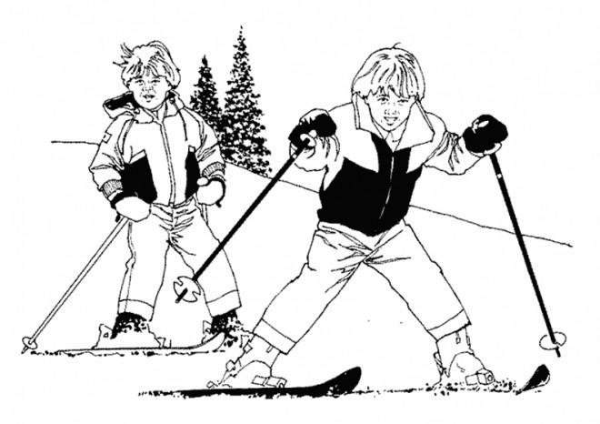 Coloriage et dessins gratuits Petits Skieurs s'amusent à imprimer