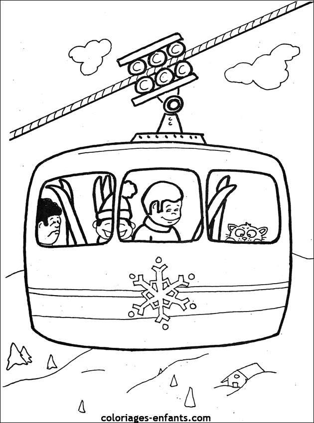 Coloriage et dessins gratuits Remonter en cabine de ski à imprimer