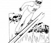 Coloriage et dessins gratuit Saut à Ski dans l'air à imprimer