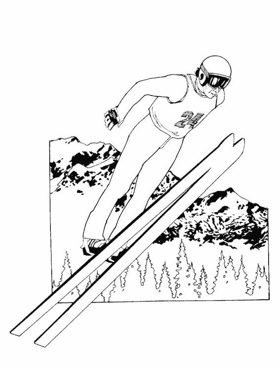 Coloriage et dessins gratuits Saut à Ski dans l'air à imprimer