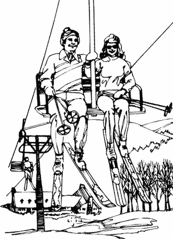 Coloriage et dessins gratuits Ski adulte en couleur à imprimer