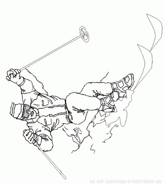 Coloriage et dessins gratuits Ski au crayon à imprimer