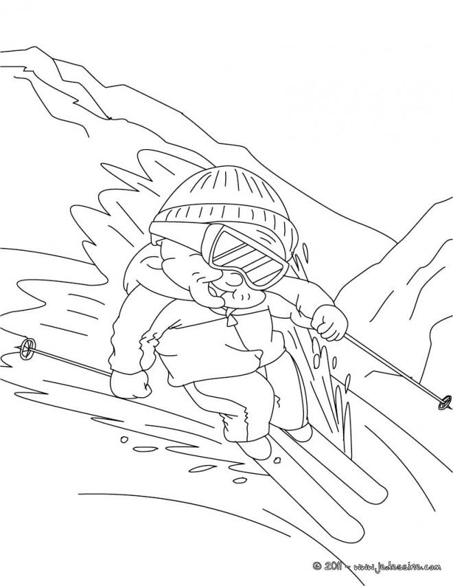 Coloriage et dessins gratuits Ski dans La montagne neigeux à imprimer