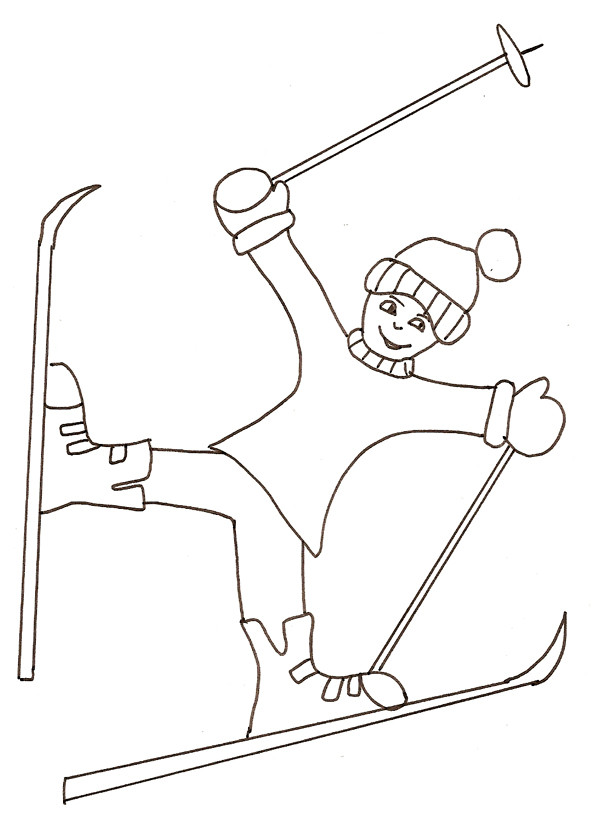 Coloriage Ski Facile Dessin Gratuit A Imprimer