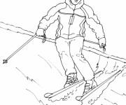 Coloriage et dessins gratuit Ski maternelle à imprimer