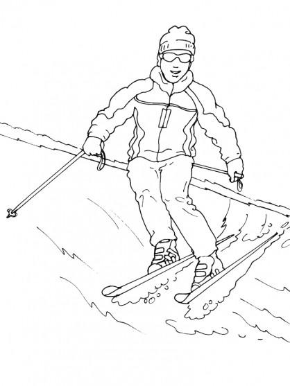 Coloriage et dessins gratuits Ski maternelle à imprimer
