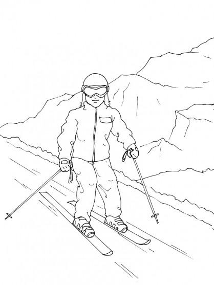 Coloriage et dessins gratuits Ski montagne stylisé à imprimer