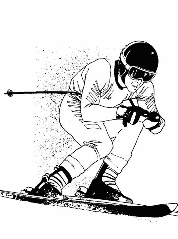 coloriage ski réaliste dessin gratuit à imprimer