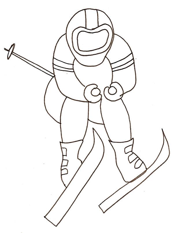 Coloriage et dessins gratuits Skieur adulte à imprimer