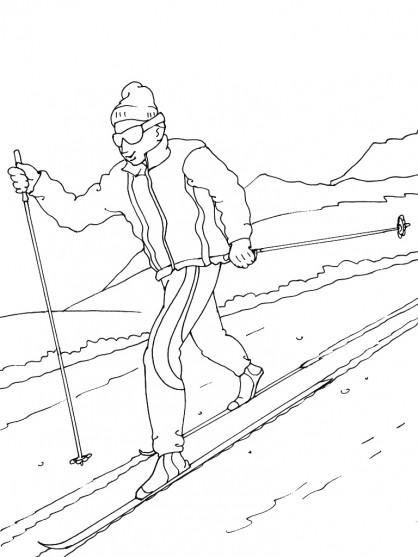 Coloriage et dessins gratuits Skieur descend de la Montagne à imprimer