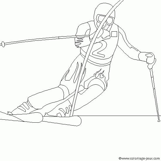 Coloriage et dessins gratuits Skieur en course à imprimer