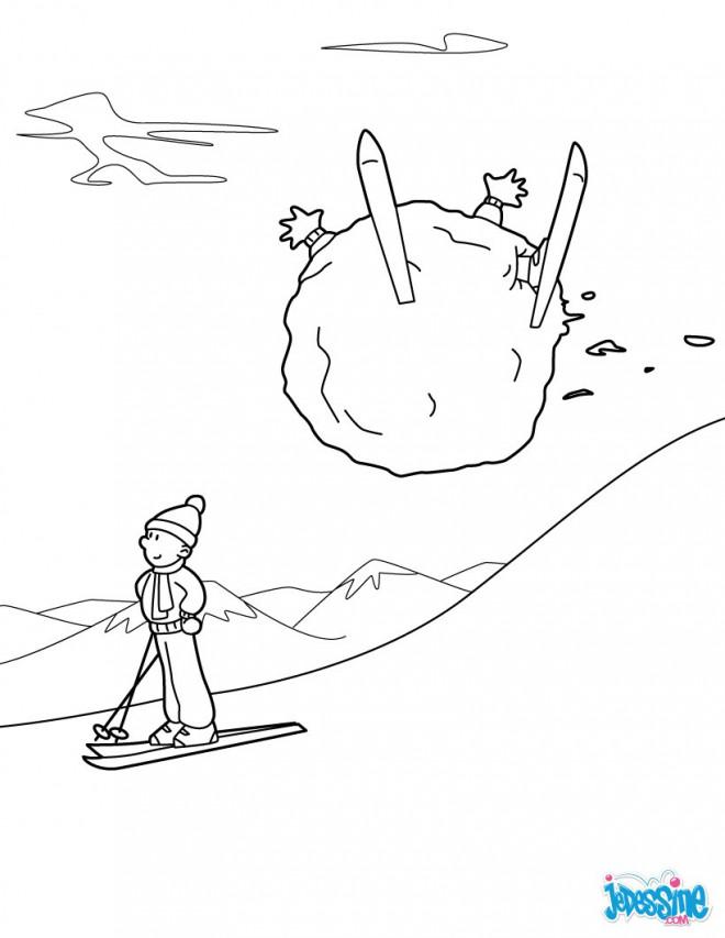 Coloriage et dessins gratuits Skieur et Ballon de Neige à imprimer