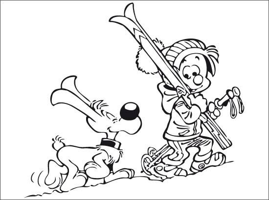 Coloriage et dessins gratuits Skieur et son chien dessin animé à imprimer