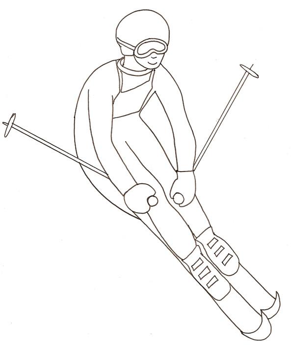 Coloriage et dessins gratuits Skieur professionnel au crayon à imprimer