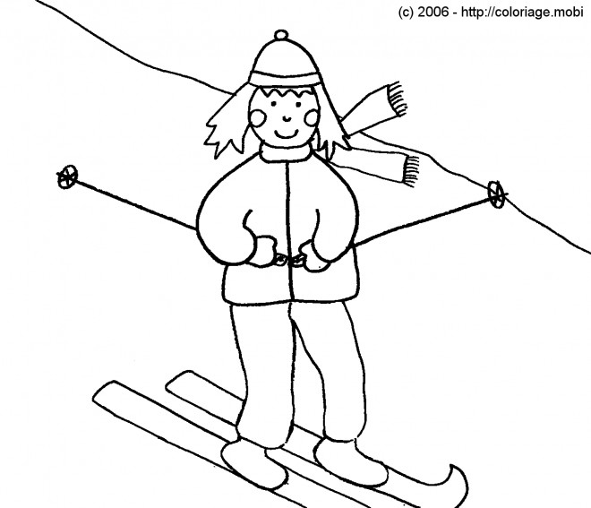 Coloriage et dessins gratuits Skieur simplifié à imprimer
