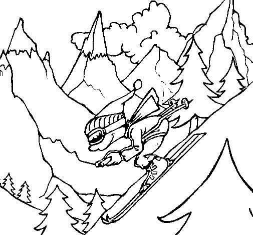 Coloriage et dessins gratuits Skieur très rapide à imprimer