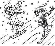 Coloriage et dessins gratuit Skieurs sous la neige à imprimer