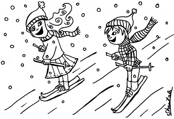 Coloriage et dessins gratuits Skieurs sous la neige à imprimer