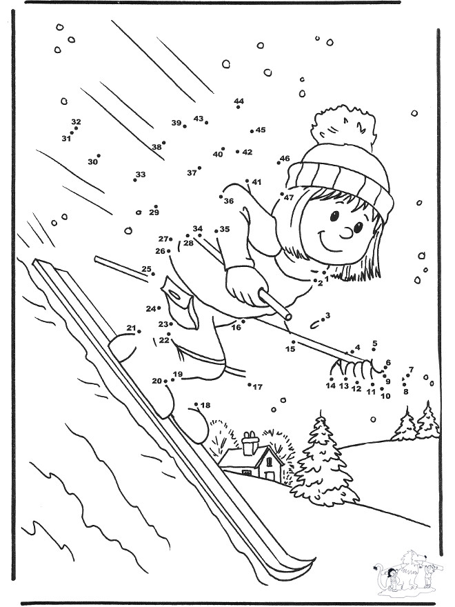 Coloriage et dessins gratuits Skieuse à compléter à imprimer